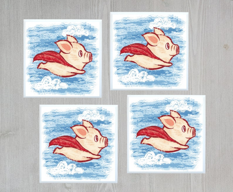 Flying Pig Tile Coaster When Pigs Fly Ceramic Coaster Super Etsy