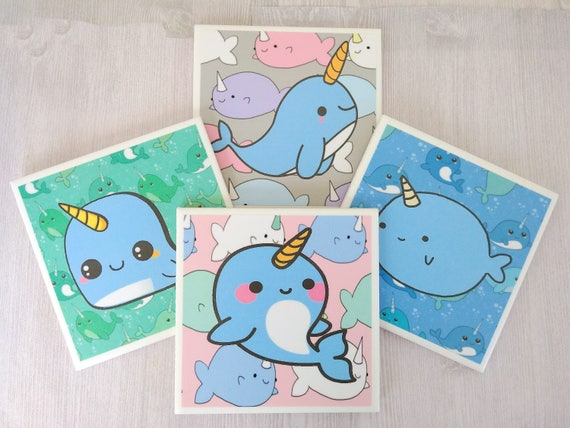 Image of: Mei Yu Image Anni Betts Narwhal Coasters Narwhal Tile Coasters Rainbow Narwhal Gift Etsy