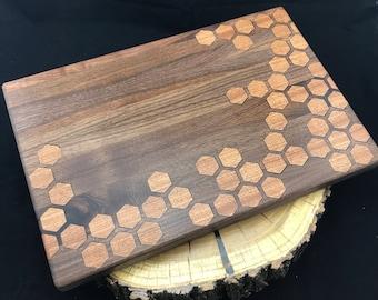 Large Honeycomb inlay Cutting board- Walnut & Sapele Mahogany, Pattern #6