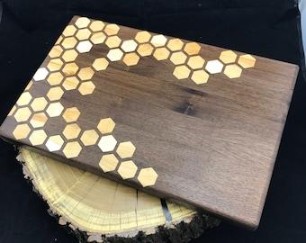 Large Honeycomb inlay Cutting board- Walnut & Maple Pattern #1