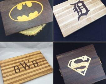 "11"" x 17"" Bespoke Custom Cutting Board with your choice of wood inlay"