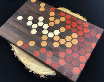 Large Honeycomb inlay Cutting board- Walnut with Padauk, Cherry and Ash, Pattern #8
