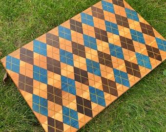 Argyle inlay Cutting board- Blue Poplar, Cherry, & Black walnut