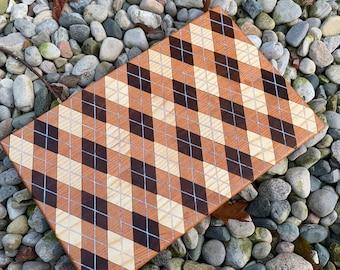 Argyle inlay Cutting board- Walnut, ash, & cherry #2