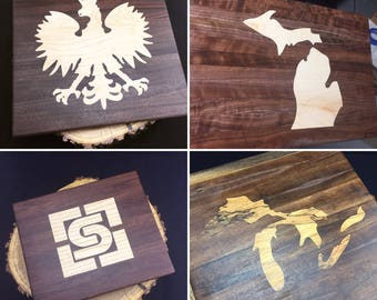 """11"""" x 13"""" Bespoke Custom Cutting Board with your choice of Almost Any inlay"""