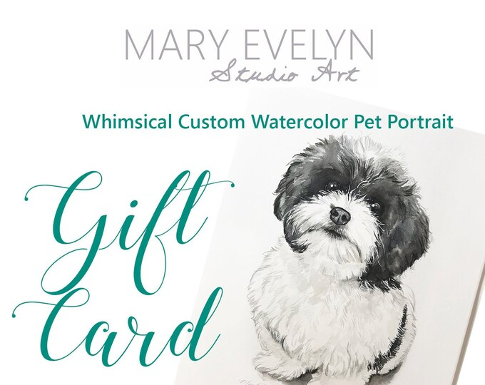 Featured listing image: Whimsical Custom Watercolor Pet Portrait GIFT CARD - Christmas Gift