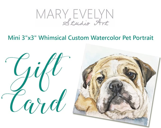 "Featured listing image: Mini 3""x3"" Whimsical Custom Watercolor Pet Portrait GIFT CARD - Christmas Gift"