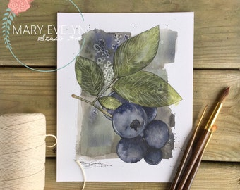 Blueberry Medley - Print of Original Watercolor and Ink