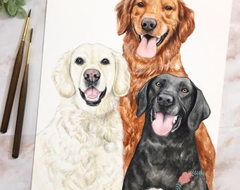 Whimsical Custom Watercolor Pet Portrait with Multiple Subjects