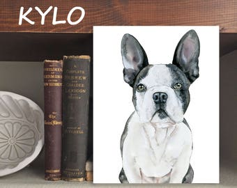 "Frenchie ""Kylo"" Dog - Print of Original Watercolor and Ink"
