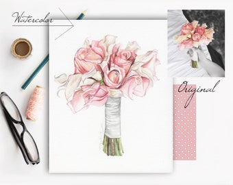 Custom Wedding Bridal Bouquet Watercolor Illustration
