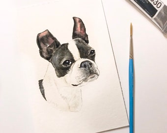 "4""x6"" Original Custom Watercolor Pet Portrait (White Background)"