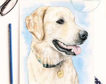 Whimsical Custom Watercolor Pet Portrait