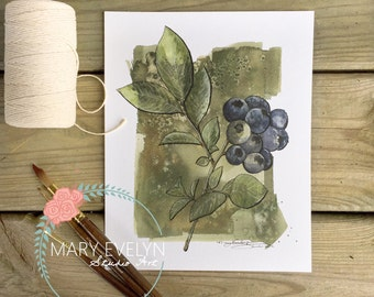 Blueberry Sprig - Print of Original Watercolor and Ink