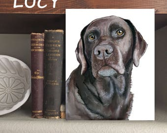 "Chocolate Lab ""Lucy"" Dog - Print of Original Watercolor and Ink"