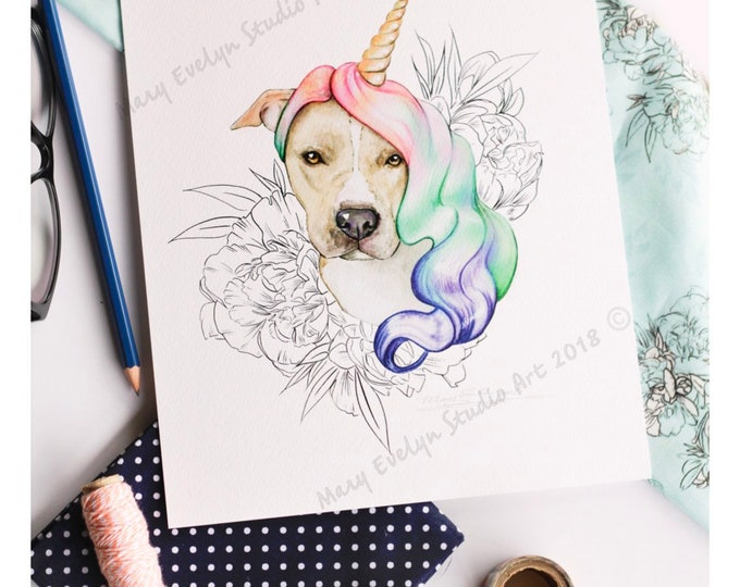 "Featured listing image: The Majestic Pitticorn™ 8""x10"" Print - The Fabled Puppers Collection"