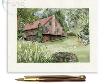 "6"" x 8"" Custom Watercolor House Illustration"
