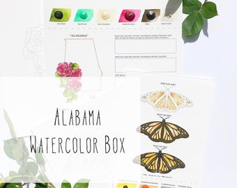 Alabama Watercolor Art Box with State Flower (Camellia) and State Insect (Monarch Butterfly) - PRE-ORDER