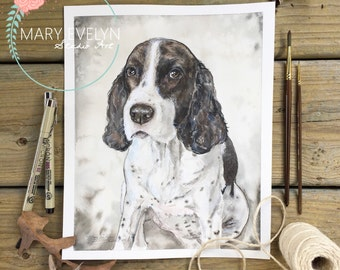 Traditional Original Watercolor Pet Portrait