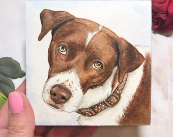 "Custom 4""x4"" Pet Portrait Watercolor Illustration"