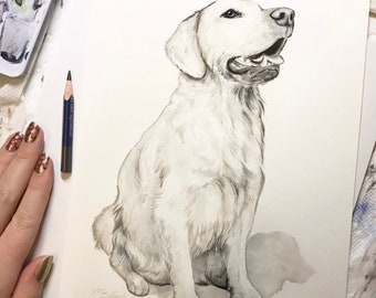 "8""x10"" Original Custom Pen and Ink Pet Portrait Illustration"