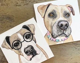 "Mini 3""x3"" Whimsical Custom Watercolor Pet Portrait"