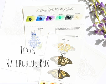 Texas Watercolor Art Box with State Flower (Bluebonnet) and State Insect (Monarch Butterfly) - PRE-ORDER