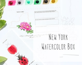 New York Watercolor Art Box with State Flower (Rose) and State Insect (Nine-Spotted Lady Bug) - PRE-ORDER