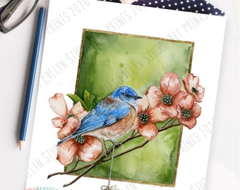 "Blue as a Bluebird-Hand Embellished 8""x10"" Print ""Key to Happiness"" Series"