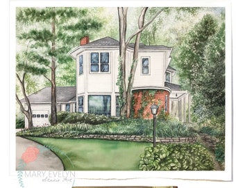 "11"" x 14"" Custom Watercolor House Illustration"