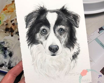 "5""x 7"" Original Custom Watercolor Pet Portrait (White Background)"