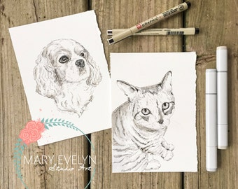 "5""x 7"" Original Custom Pen and Ink Pet Portrait Illustration"
