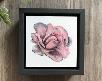 "4""x4""  Original Watercolor Rose Painting-Framed"