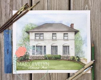 "8"" x 10"" Custom Watercolor House Illustration"