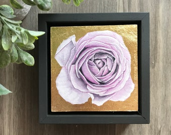 """4""""x4""""  Original Watercolor and Gold Leaf Rose Painting-Framed"""