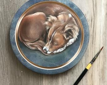 "6"" Original Acrylic on Wood Panel Pet Portrait"