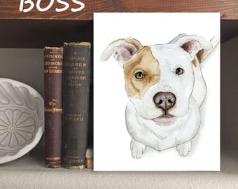 "Bulldog ""Boss"" Dog - Print of Original Watercolor and Ink"