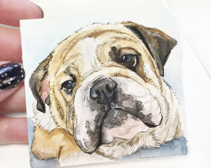 "Featured listing image: Mini 3""x3"" Whimsical Custom Watercolor Pet Portrait"