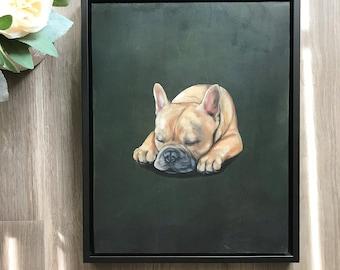 "11""x14"" Original Oil Pet Portrait-Framed"
