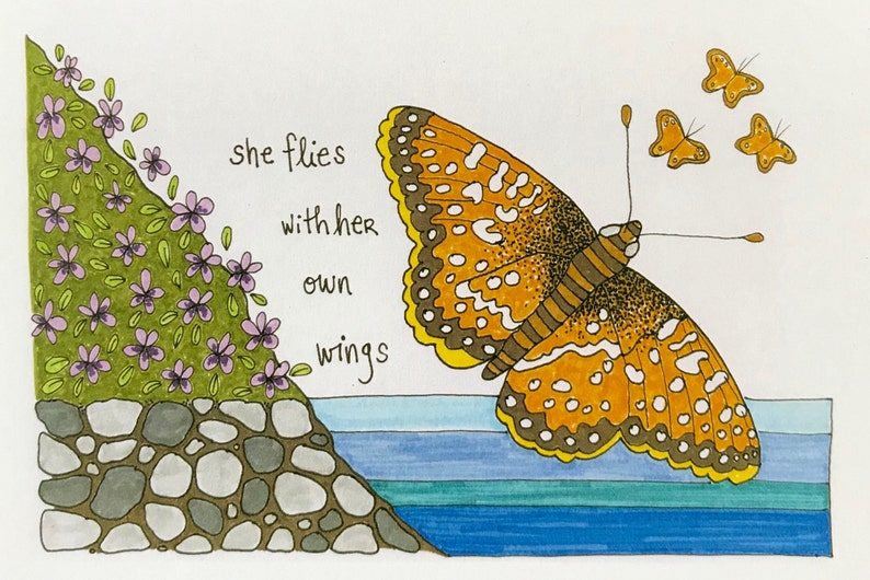 she flies with her own wings: encrouagement card be strong image 0