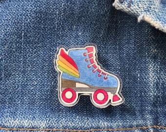Roller Skate Pin, Winged-Skate Pin, Acryclic Pin, Rainbow Roller Skate Pin