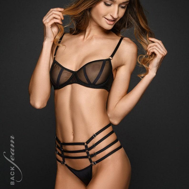 8014409c8b1d Lingerie Set Black strappy lingerie Strappy lingerie Strappy