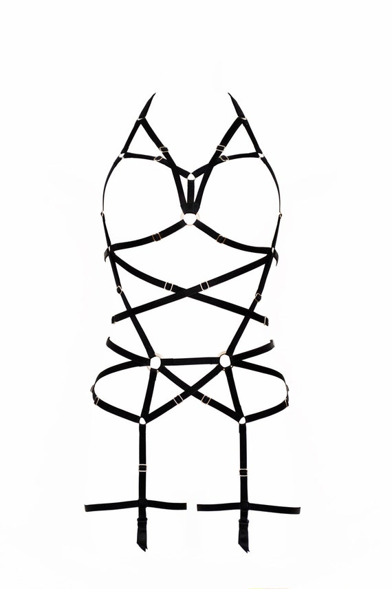 Longline Black Harness Full Body Black Harness Garter Belt