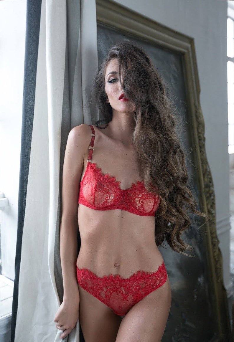 4a7aa30b44f Red lingerie set sexy lingerie lace lingerie set Valentine | Etsy