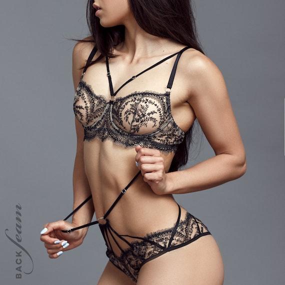 Voir Lingerie À Tropicale La Travers Ensemble Noire Femme Dentelle Femmes Sexy 1FclKTJ