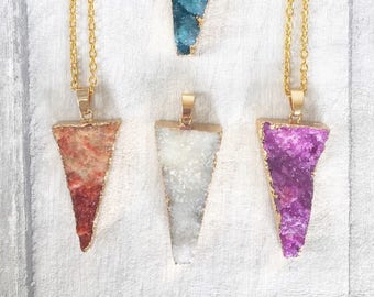 Geode Necklace - Druzy Necklace - Bridesmaid Gift - Crystal Necklace - Triangle Druzy Necklace -  Drusy Jewelry - Birthday Gift For Her