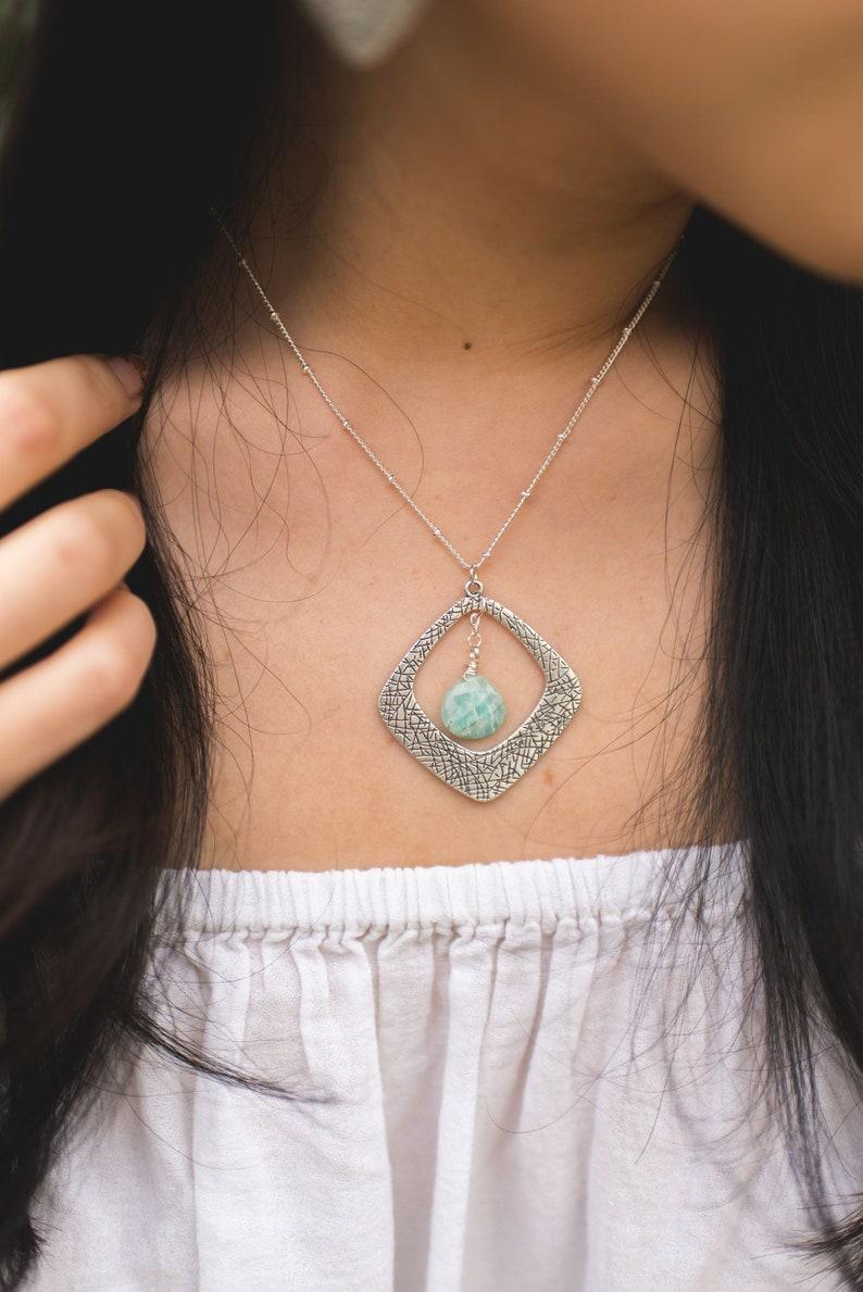 Amazonite Statement Necklace  Gemstone Jewellery Set  Stone image 0