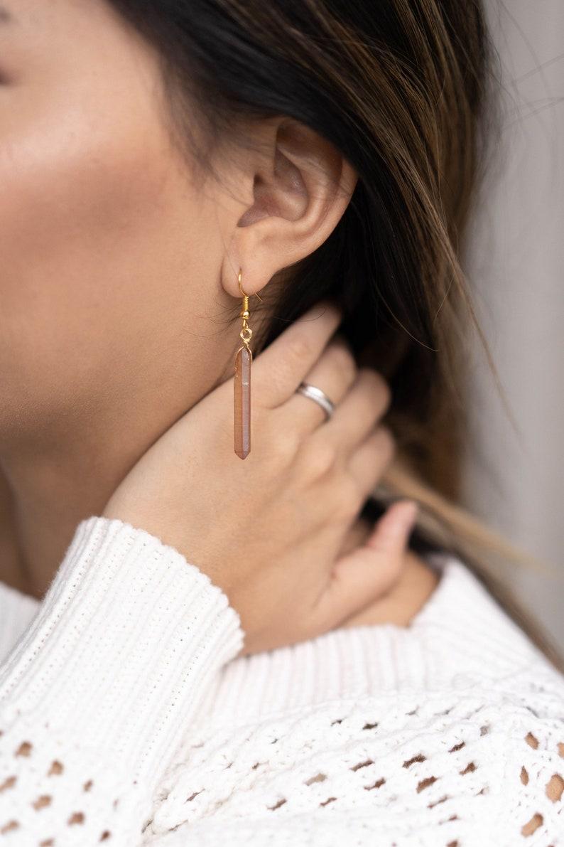 Raw Champagne Aura Quartz Crystal Point Dangle Earrings  Boho image 0
