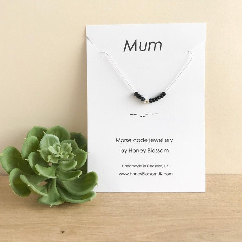 Custom Morse Code Necklace  Personalised Secret Message Black