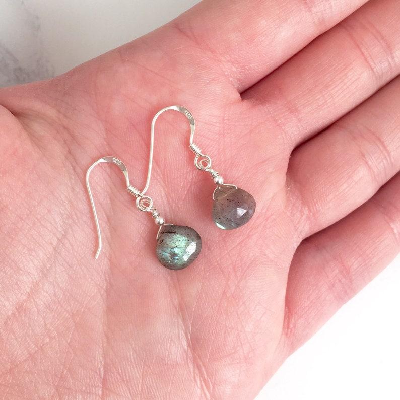 Sterling Silver Labradorite Drop Earrings Boho Gemstone Dangle Earrings Protection Jewelry Dainty Gemstone Jewellery